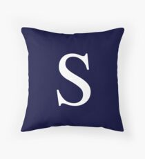 Navy Blue Basic Monogram S Throw Pillow