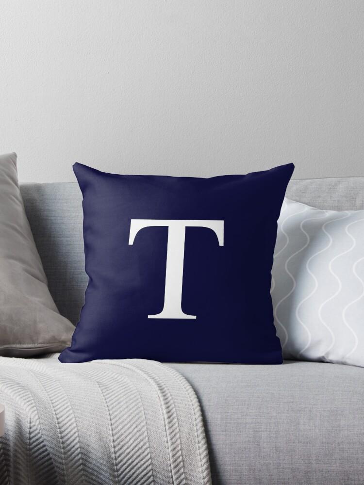 Navy Blue Basic Monogram T by rewstudio