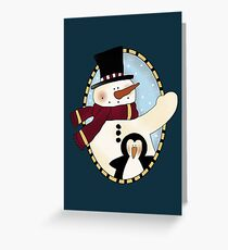 Snowman with Penguin Christmas Card Greeting Card