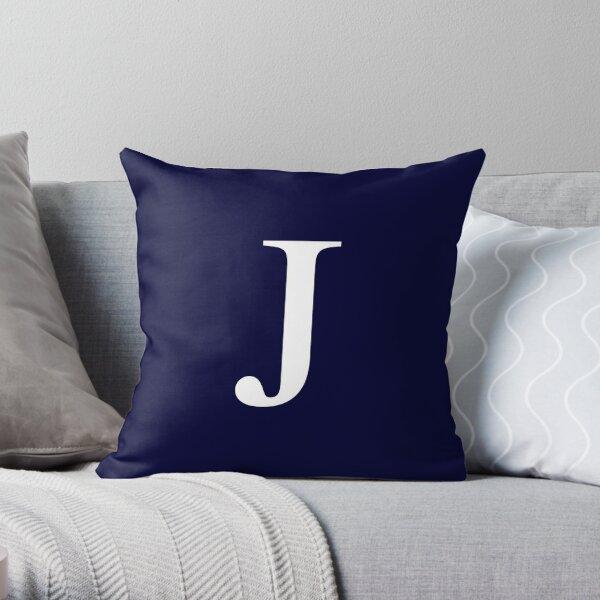 Navy Blue Basic Monogram J Throw Pillow