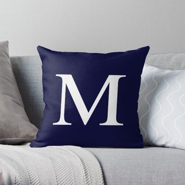 Navy Blue Basic Monogram M Throw Pillow