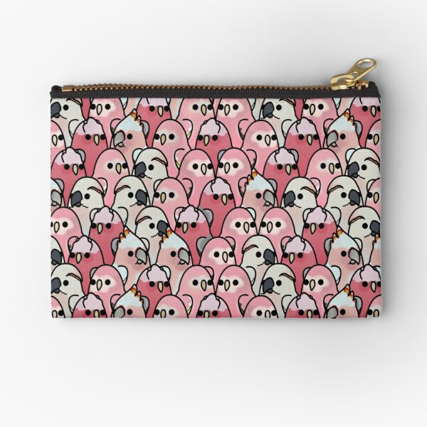 Too Many Birds! - Pink Parrot Posse! Zipper Pouch