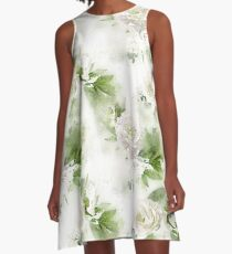 Watercolor White Peonies A-Line Dress