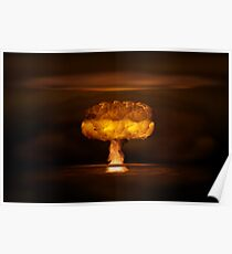 Atomic bomb realistic explosion, orange color with smoke on black background Poster