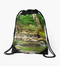cascade on the little stream with stones in forest Drawstring Bag