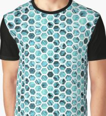 Teal hexagons Graphic T-Shirt