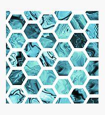 Teal hexagons Photographic Print