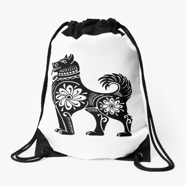 Southwestern Totemic Dog Drawstring Bag
