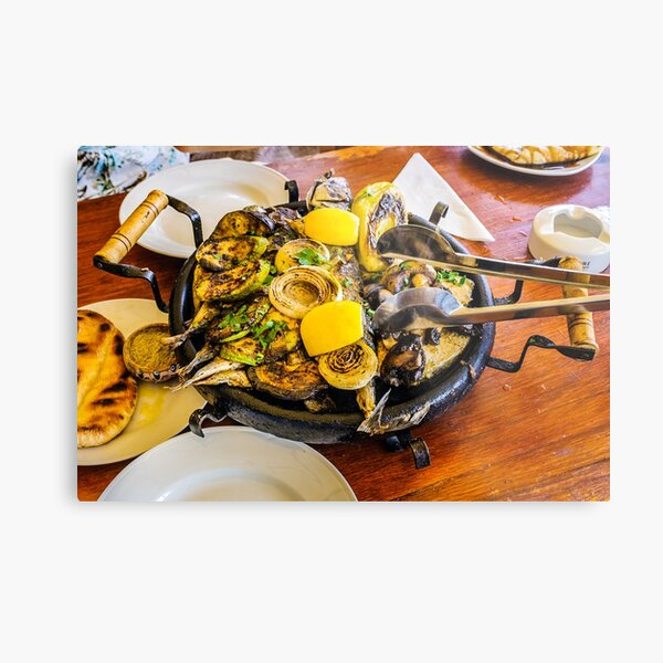 Bulgarian hot plate with fish, courgettes and onions Metal Print