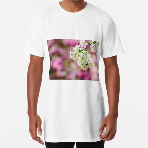flowers of apple tree on a bulr background Long T-Shirt