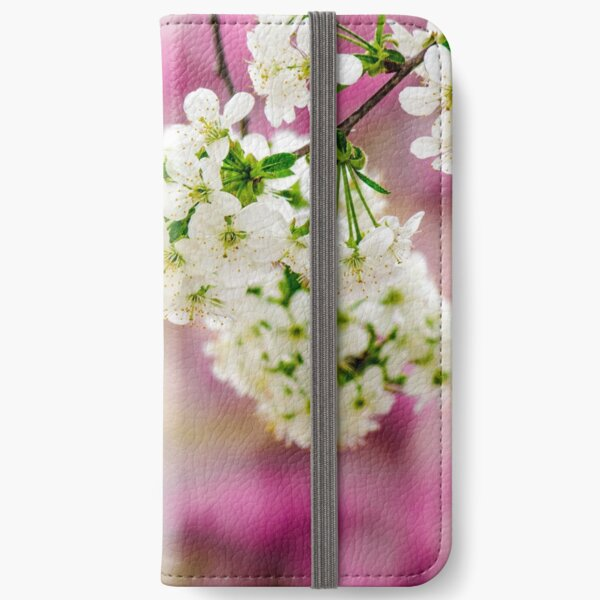 flowers of apple tree on a bulr background iPhone Wallet