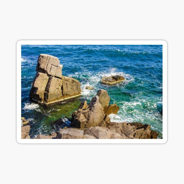 sea wave breaks about rocky shore Sticker