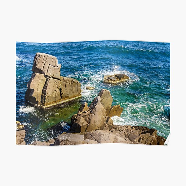 sea wave breaks about rocky shore Poster