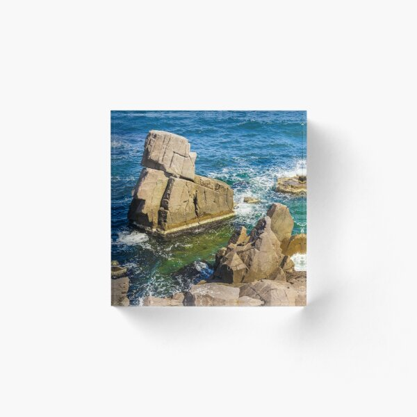 sea wave breaks about rocky shore Acrylic Block