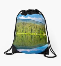 lake among the forest in mountains Drawstring Bag