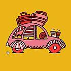 Pinky Red Citroen 2CV by mellowdays