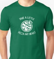 Take A Little Pizza My Heart - Pizza Heart Slice Joke Puns Funny Cool Witty Double Meaning Humor Laugh  T-Shirt