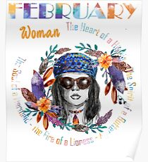 February Woman Mermaid Soul And Hippie Heart Birthday Design Poster