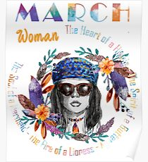 March Woman Mermaid Soul And Hippie Heart Birthday Design Poster
