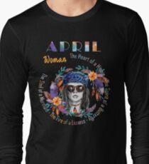 April Woman Mermaid Soul And Hippie Heart Birthday Design T-Shirt