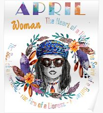April Woman Mermaid Soul And Hippie Heart Birthday Design Poster
