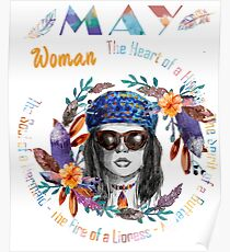 May Woman Mermaid Soul And Hippie Heart Birthday Design Poster