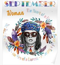 September Woman Mermaid Soul And Hippie Heart Birthday Design Poster