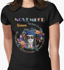 November Woman Mermaid Soul And Hippie Heart Birthday Design T-Shirt