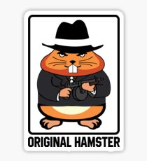 Original Hamster Funny Gangster- Mafia Machine Gun Sticker