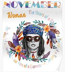 November Woman Mermaid Soul And Hippie Heart Birthday Design Poster
