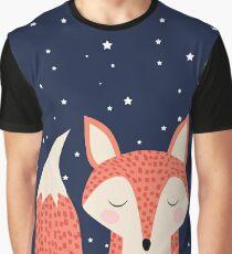 Sleepy red fox under night stars Graphic T-Shirt