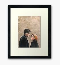 Kiss Already- X Files Mulder Scully MSR original painting Framed Print