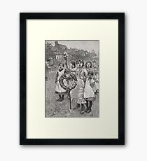 Young girls on a Victorian May day, 1886 Framed Print