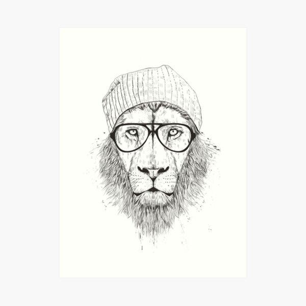 Cool lion (bw) Art Print
