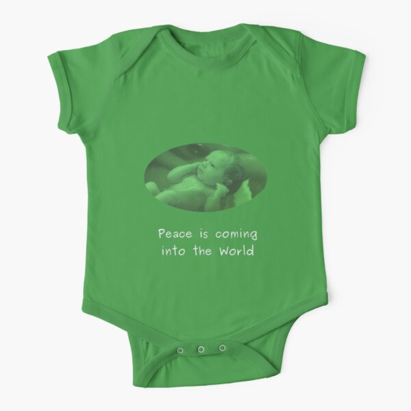 Peace into the World - Green baby clothes Short Sleeve Baby One-Piece