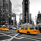NYC Yellow Cabs Flat Iron Building by Hell-Prints