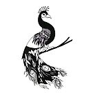 Peacock - Art Nouveau - Black and White by reslanh