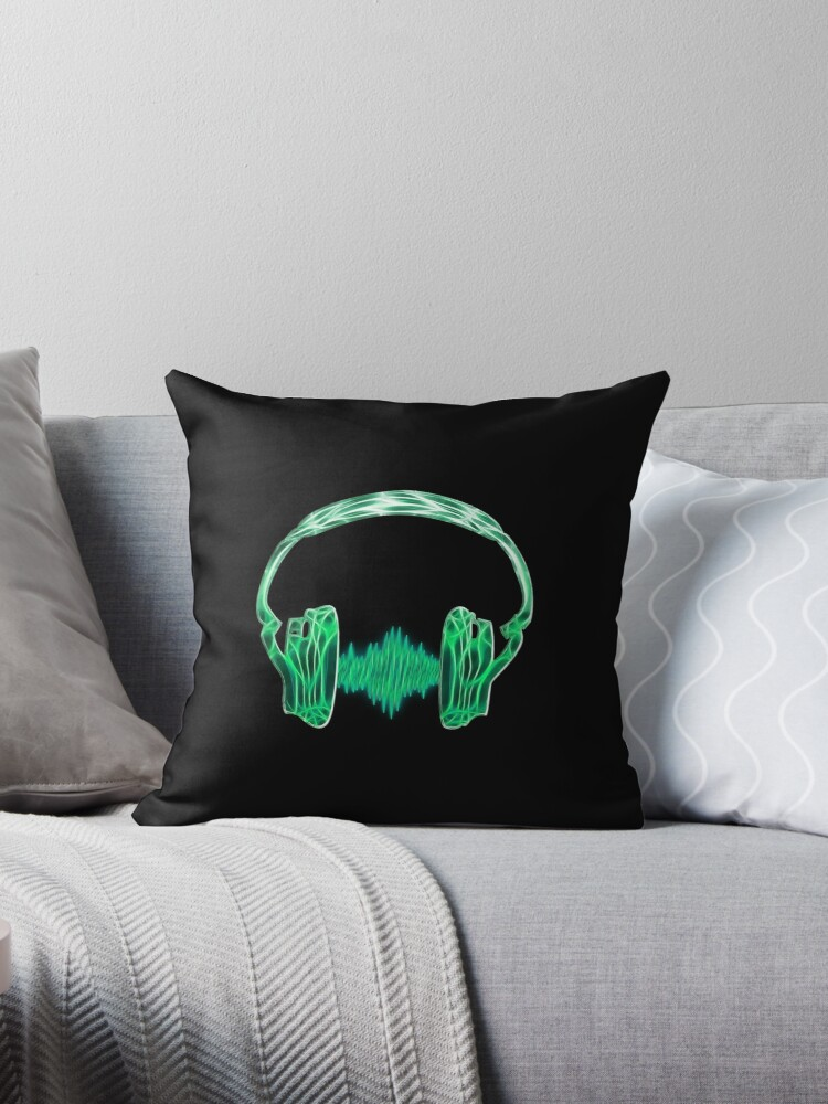 'Headphone, Music, Disco, Dance, Electro, Trance, Techno, Wave, Pulse, '  Throw Pillow by Anne Mathiasz