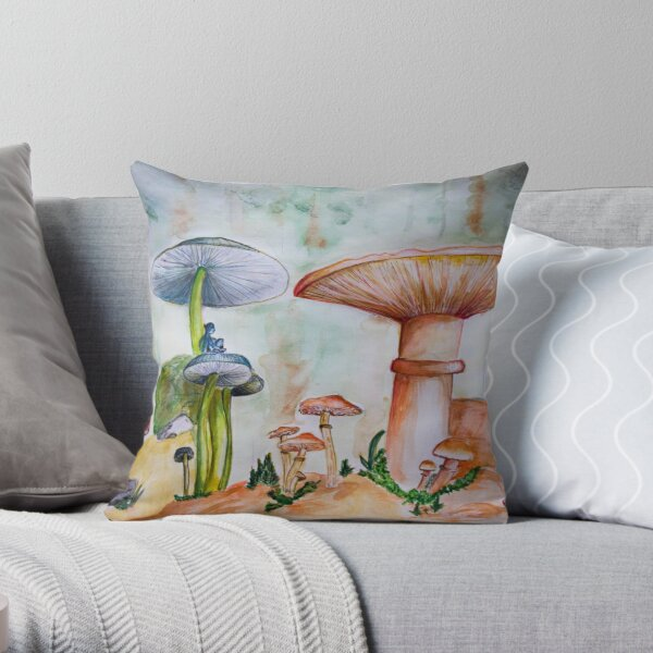 World under the shrooms Throw Pillow