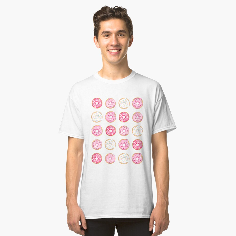 Pink Iced Donuts Pattern Classic T-Shirt