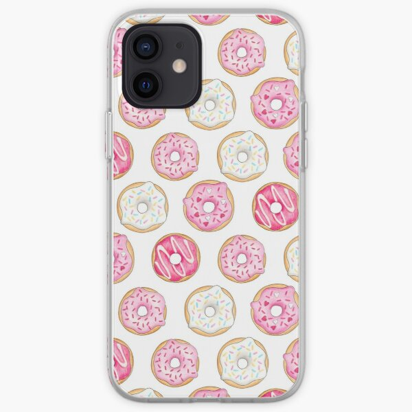 Pink Iced Donuts Pattern iPhone Soft Case