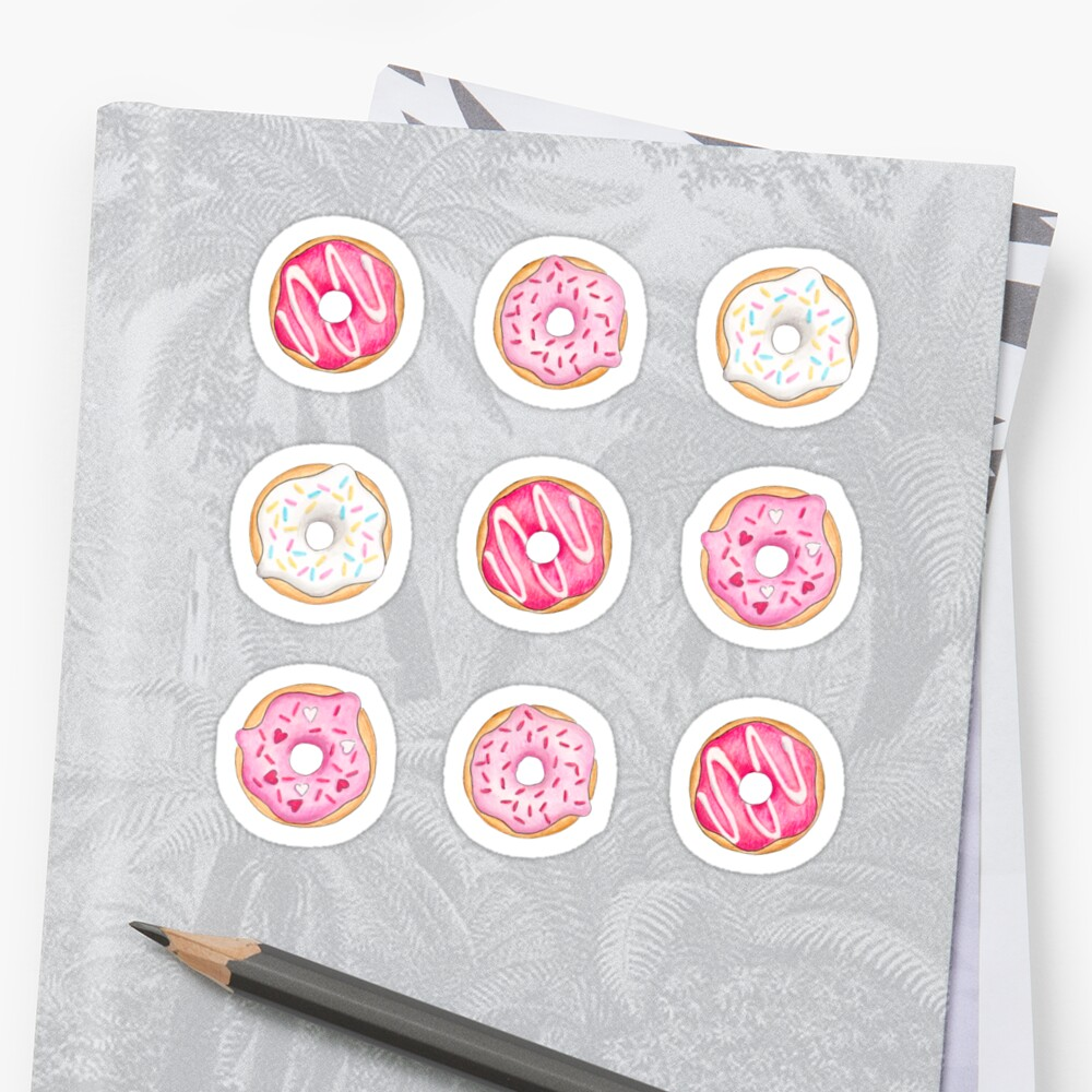 Pink Iced Donuts Pattern Sticker