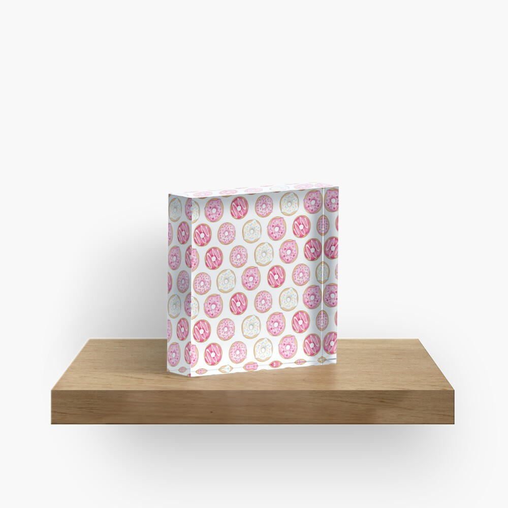 Pink Iced Donuts Pattern Acrylic Block