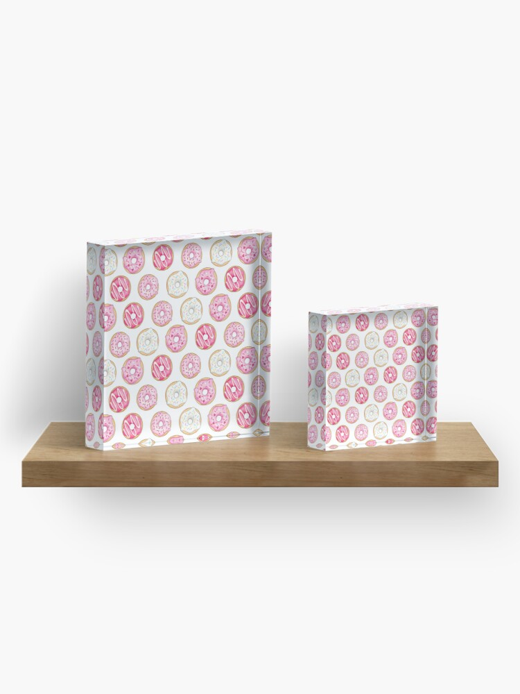 Alternate view of Pink Iced Donuts Pattern Acrylic Block