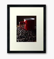 Red coffee mug and fresh coffee beans Framed Print