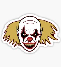 Detailed Scary Clown Drawing For The Halloween Scene Sticker