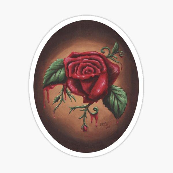 Bleeding Red Rose Gothic Rose  Sticker