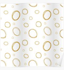Sea Bubbles - White and Mustard Poster
