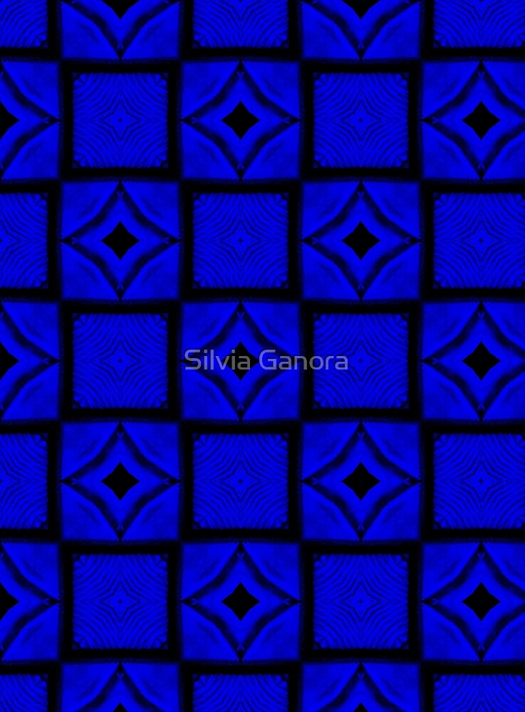 Midnight blue squares pattern by Silvia Ganora