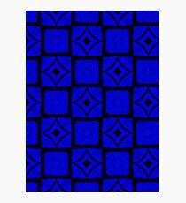 Midnight blue squares pattern Photographic Print